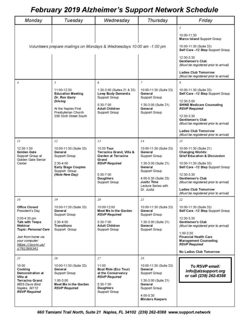 Feb Calendar | Alzheimer's Support Network